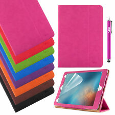 Tan Leather Wallet Smart Stand Case Cover For Various iPad + Free Screen Guard