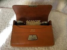 Vintage Two Tix  Gentlemans Grooming kit Brown Leather Toiletry Case MI England