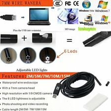 2/5/15M 6LED USB Waterproof Endoscope Borescope Snake Inspection Video Camera OI