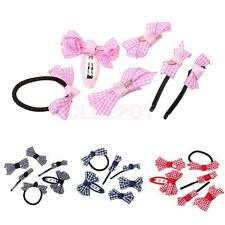 6Pcs Kids Girls Hair Accessory Barrette Sets Alligator Hair Clips Hair Bow Band