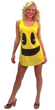 Adult PacMan Costume Yellow Tank Dress Ladies Licensed Fancy Dress Outfit New