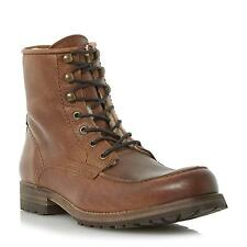 Dune Bertie Mens CAPTIVE Warm Lined Leather Lace Up Boot in Tan