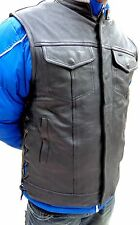 MEN'S ANARCHY LEATHER MOTORCYCLE VEST 2 GUN POCKETS INSIDE WITH SIDE LACES NAKED