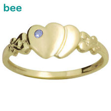 Signet Sapphire 9k Solid Yellow Solid Gold Heart Ring Size 4.5-7.75
