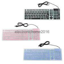 USB Flexible Foldable Keyboard Silicon Quiet 107 Keys for PS2 Computer Laptop PC