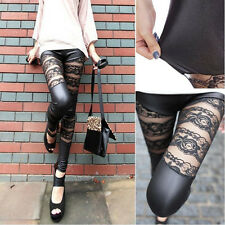 Fashion Sexy Women PU Leather Lace Skinny Trousers Gothic Punk Leggings Pants