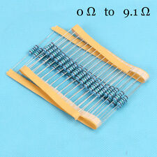 100pcs/lot 1/4W  Watt Metal Film Resistor 1% 0 Ω to 9.1 Ω Ohm 0.25W ROHS