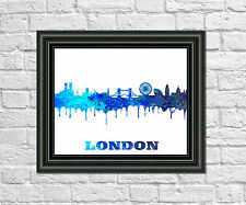London City Skyline Print City Silhouette Abstract Poster Art London Outline