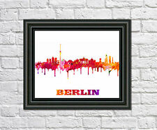 Berlin Skyline Print City Silhouette Abstract Poster Art Berlin Outline