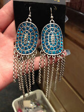 Extra Large TURQUOISE BLUE Diamante Crystal  Drop CHANDELLIER  pierced Earrings