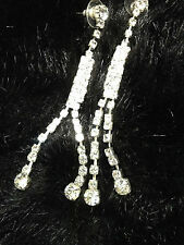 LARGE CLEAR DIAMANTE EXTRA LONG metal VINTAGE STYLE CHANDELIER EARRINGS PARTY