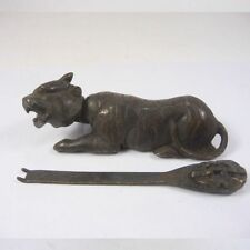Handwork China Old Decorated Copper Usable Tiger Shaped Lock and Key NAA038
