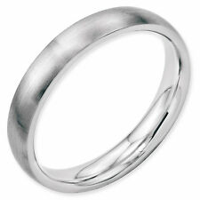 Stainless Steel 4mm Wedding Band Half Round Comfort-Fit Brushed Ring Size 4 - 13