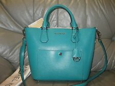 Michael Kors Greenwich Large Grab Bag Saffiano Leather Satchel Aqua $358  NWT