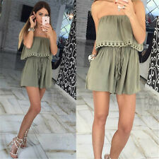 Lacing Women Bodycon Jumpsuits Off Shoulder Casual Playsuit Rompers Strapless E