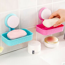 Plastic Bathroom Toilet Strong Suction Cup Soap Dish Shower Tray Wall Holder