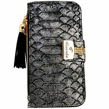 Snake Skin SILVER PU Leather Flip Wallet Purse Case Card Holder iPhone 6 6S Plus