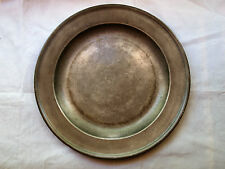 ANTIQUE ENGLISH PEWTER SINGLE REEDED CHARGER, 16.5 IN, T PAGE, BRISTOL, CIRC1740