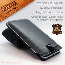 Luxury Genuine Leather Pull Tab Slide-in Sleeve Pouch Smart Phone Case Cover