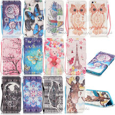 Magnetic Flip Stand Cover for Various Phones PU Leather Wallet Case Patterned