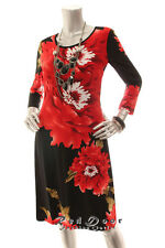 NEW R&M RICHARDS  Women Shift 3/4 Sleeve Floral Work Dress Red Black  8 10 12