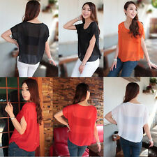 Women Summer Chiffon Blouse Sheer Tops Casual Batwing Short Sleeve Loose T-Shirt