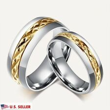 Custom Engraving 18K Gold Titanium Steel Couple Promise Wedding Bands Rings