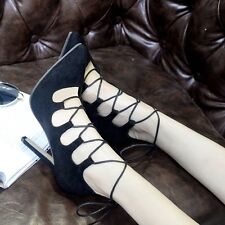 New High Heels Pointed Toe Crass Lace Up Stilettos Hollow Out Pumps Womens Shoes