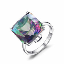 10ct Concave  Natural Mystic Fire Rainbow Topaz Ring Solid 925 Sterling Silver