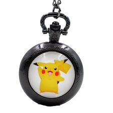 Pikachu Genius Pokemon Go Analog Quartz Pocket Watch Necklace Chain Girls Boys