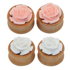 2piece Single Flare Wood Ear Tunnels Plugs Gauges With Resin 3D Rose Flower