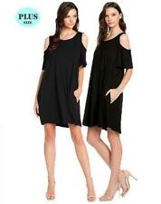 Sexy Plus Size Black Cold Shoulder With Pockets Open Sleeve Mini Dress1X/2X/3X
