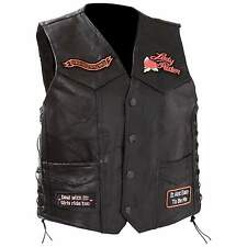 Ladies Diamond Plate™  Black Rock Design Genuine Leather Vest - Sizes 3X, 4X, 5X