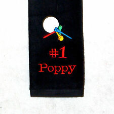Personalized Golf Towel, Poppy Golf Towel, Personalize With Any Name, AGift 736