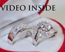 5.08 Carat Engagement & Wedding Engagement/Wedding Ring Sets St Silver Impress86