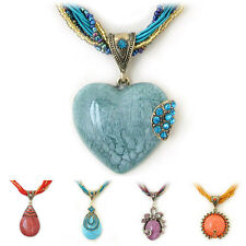 Special Offer, Coloured Glaze Crystal Heart Pendant Handmade Necklace
