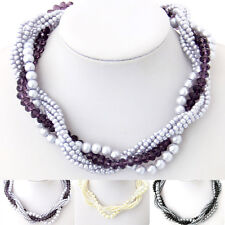 Special Offer, Mixed White Purple Black Crystal Venetian Pearl Necklace XB808