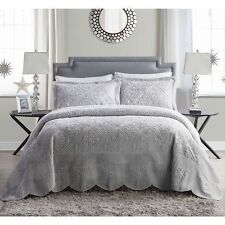 NEW Twin Full Queen King 3 pc Motif Quilt Set Coverlet Bedspread Gray Grey NWT