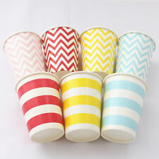 9oz Party Paper Cups-Chevron Dot Striped Color Wedding Events Drinking Tableware