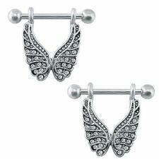 JEWELLED ANGEL WINGS NIPPLE RING 316L STAINLESS STEEL 14G Jewellery Body Bar NR3