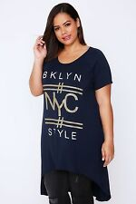 """Plus Navy Extreme Dip Back Top With """"NYC"""" Graphic Print 16-36"""