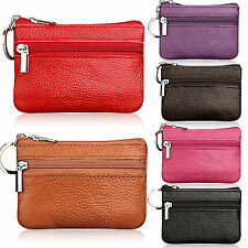 Womens Kids Mens Leather Coin Card Key Ring Wallet Pouch Purse Small Change Bag