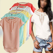 Stylish Women Batwing Sleeve Hollow Slim T-Shirts Casual Tops Blouse 6 Colors