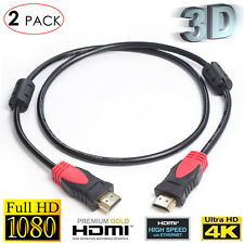 2PCS 3FT High Quality v1.4 HDMI CABLE For BLURAY 3D PS4 HDTV XBOX LCD HD 1080P