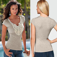 Graceful Women V-Neck Gray Lace Short Sleeve Slim T-Shirts Tee Solid Blouse S-XL