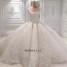 Luxury White Wedding Dresses Sleeveless Crystals Appliques Handmade Bridal Gown