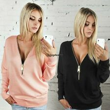 Womens Jumpers Pullover Tops Blouse Ladies V-Neck Long Sleeve Hoodie Zip OO55