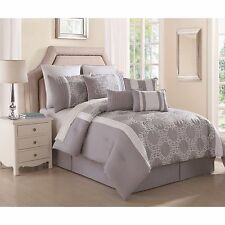 NEW Queen Cal King Bed Gray Grey White Embroidered Geo 10 pc Comforter Set NWT