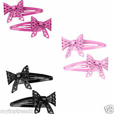 Metal Sleepies Bendies Snap Barrette Clips Grip Diamond Cut Bow Snap Hair Clips