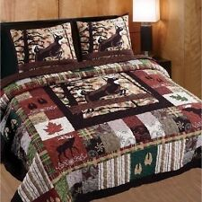 NEW Full Queen King 3 pc Quilt Set Coverlet Stripe Plaid Lodge Whitetail Deer